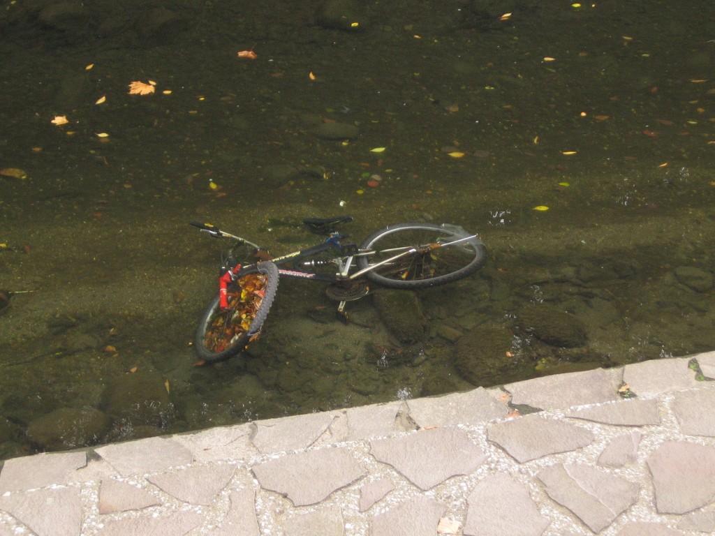 川に投棄されたMTBルック車