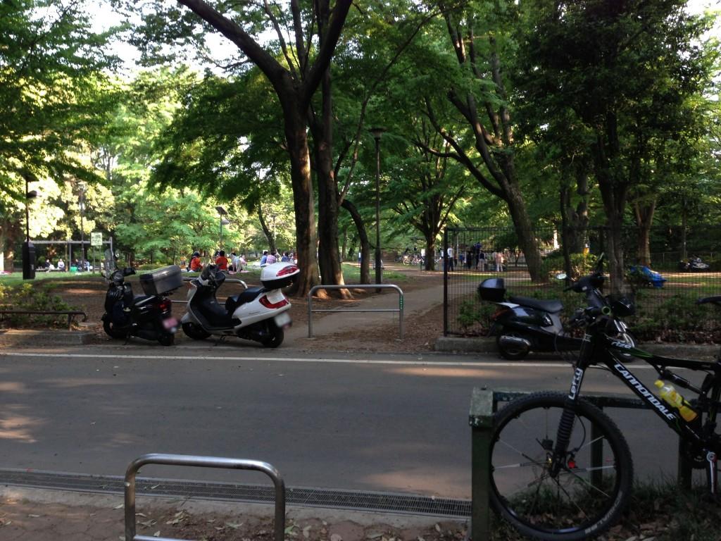 公園の入り口を塞ぐスクーター2台