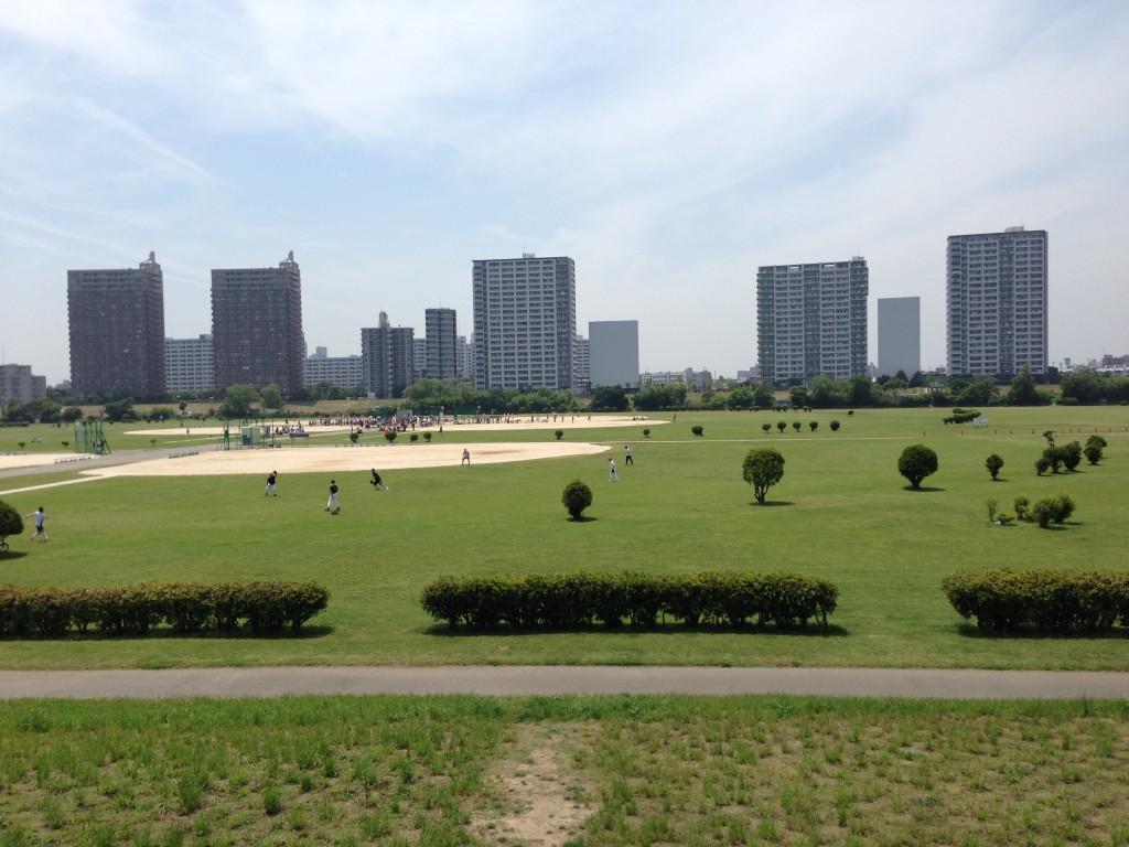野球場の外野のフェンス代わり