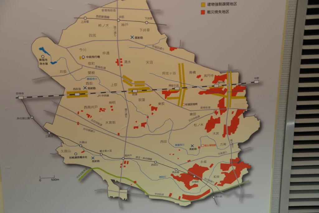 空襲を受けた地区。私の居住区域も含まれる。