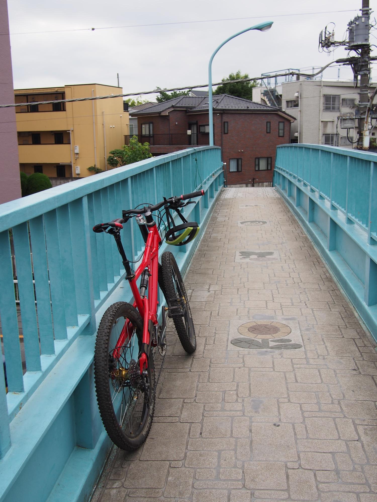 環状八号線を歩道橋で渡る