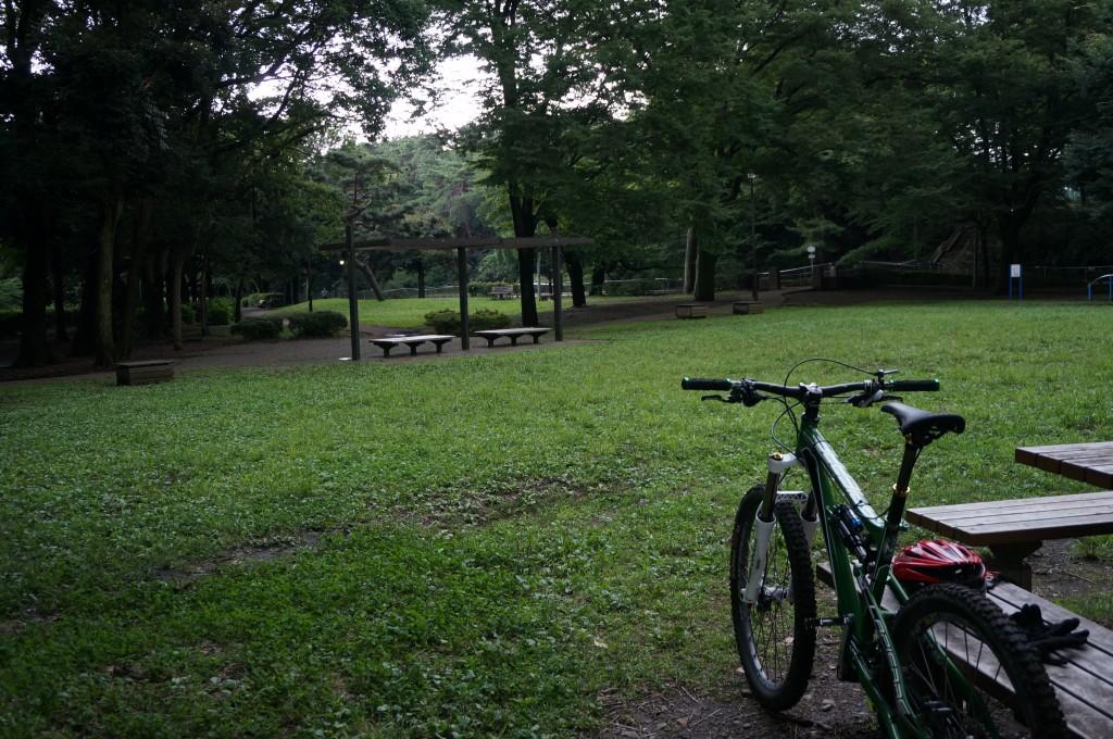 武蔵野園さん前。雲行きが怪しく雷鳴が近くで…。
