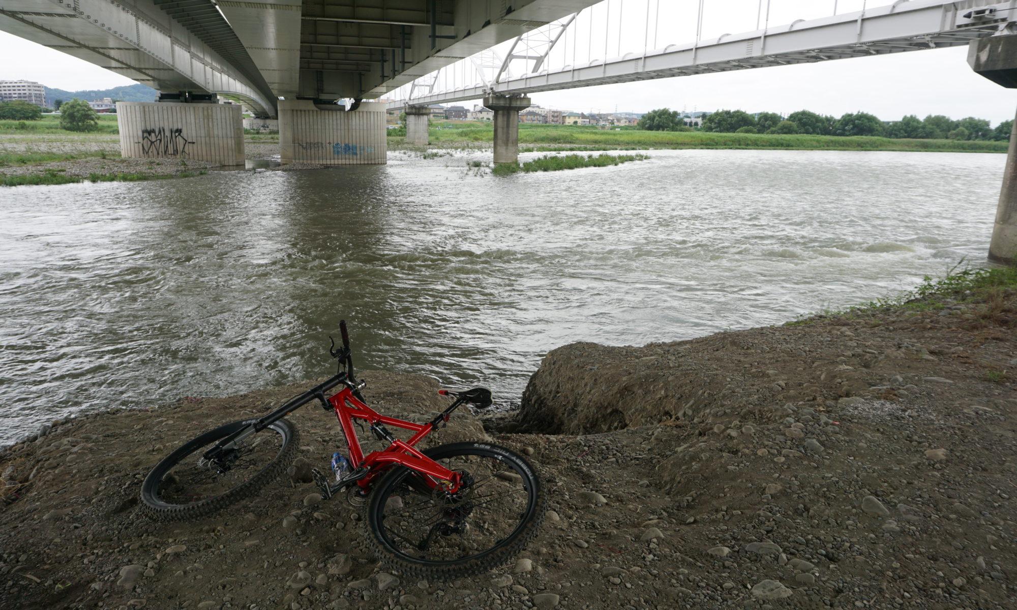 多摩川は増水中